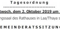 Herzliche Einladung zur GR-Sitzung am 2.Oktober 2019