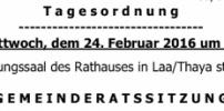 Herzliche Einladung zur GR-Sitzung am 24. Februar 2016