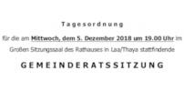 Herzliche Einladung zur GR-Sitzung am 5.Dezember 2018
