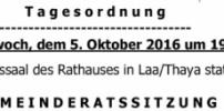 Herzliche Einladung zur GR-Sitzung am 5. Oktober 2016