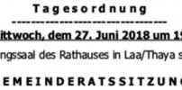 Herzliche Einladung zur GR-Sitzung am 27.Juni 2018