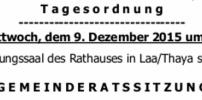 Herzliche Einladung zur GR-Sitzung am 9. Dezember 2015